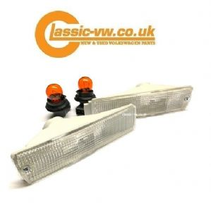 Mk2 Golf Clear Big Bumper Indicator Set 191953155 & 191953156.